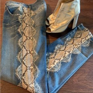 DOLCE&GABBANA Rare Python and lace Jeans
